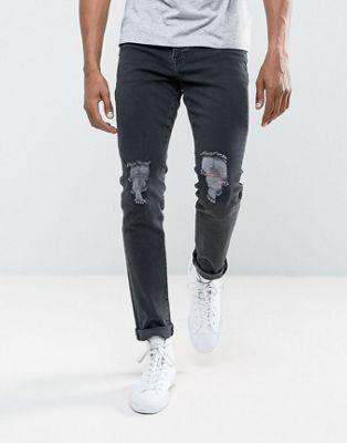 Черные джинсы скинни с рваными коленями Brooklyn Supply Co