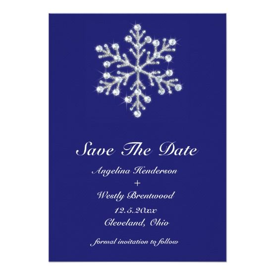 Invite guests in style with this winter snowflake save the date indigo custom invite. Pretty illustrated crystals and beads decorate this snowflake – leaving all awaiting your wintery wedding with eager anticipation.