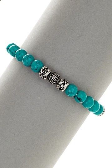 Stainless Steel Turquoise Beaded Bracelet on HauteLook