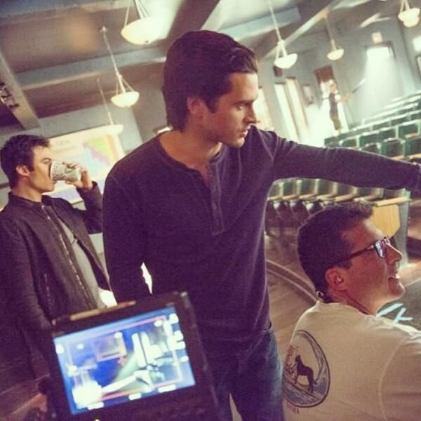 Behind the scenes pic of Ian Somerhalder and Michael Malarkey...going over the scene where Enzo throws Damon out the window! Haha