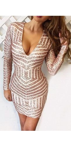 Party On Gold Geometric Sequin Long Sleeve Plunge V Neck Bodycon Mini Dress
