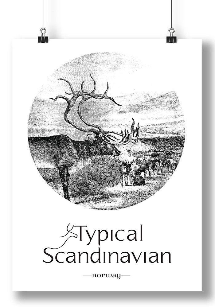 Reindeer Typical Scandinavian Wall Art