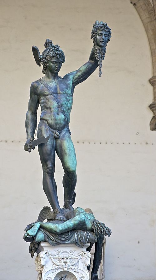 Perseus with the Head of Medusa symbolizes the triumph of Cosimo I de' Medici's regime.  The great bronze figure is a Benvenuto Cellini (Italian, 1500-1571) masterpiece and was commissioned to stand in the The Loggia dei Lanzi, also called the Loggia della Signoria in Florence. Cellini was one of the most important artists of Mannerism.