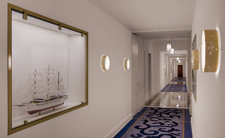 A very individual carpet adorns the corridors in this famous hotel.