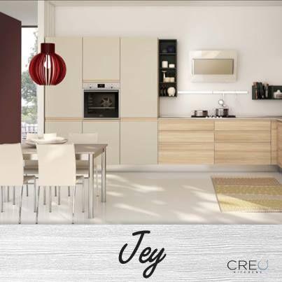 Colonne e pensili con ante nella finitura Grigio Canapa-Rovere Gold, per una Jey di grande effetto! #CREO #cucina #living #arredamento #home