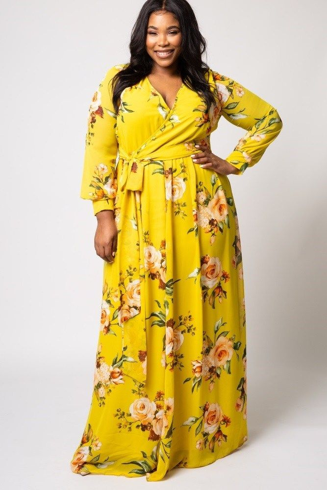 Plus Size Yellow Maxi Dresses New Yellow Floral Plus Size Maxi Dresses In 2020 Long Sleeve Chiffon Maxi Dress Maxi Dress Plus Size Maxi Dresses