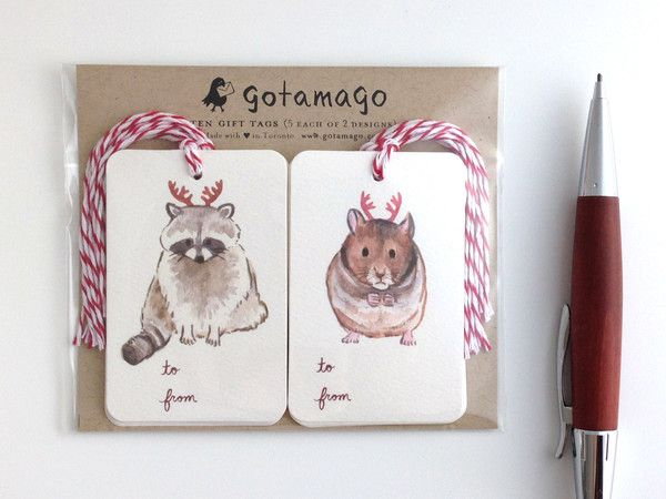Holiday Antler Animal Gift Tags, Set of 10 by Gotamago