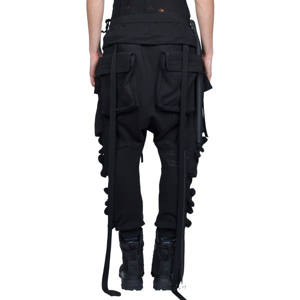 Ben Taverniti Unravel Project Parachutes Cargo cotton trousers ($911) ❤ liked on Polyvore featuring men's fashion, men's clothing, men's pants, men's casual pants, mens baggy pants, mens drawstring pants, mens military style cargo pants, mens cotton pants and mens baggy cargo pants