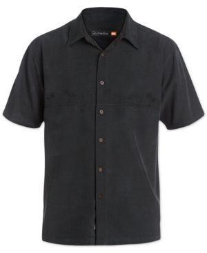 Quiksilver Waterman Men's Tahiti Palms Short-Sleeve Shirt - Black XXL