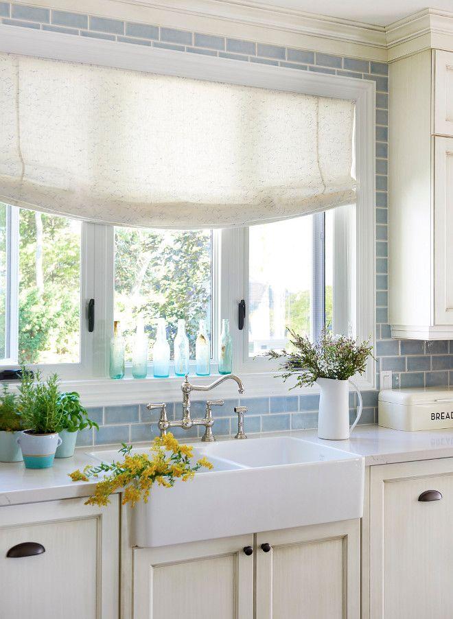 White Cabinets With Blue Backsplash Beautiful Window And Sink Faucet Blue Backsplash Kitchen Coastal Kitchen Design Backsplash For White Cabinets