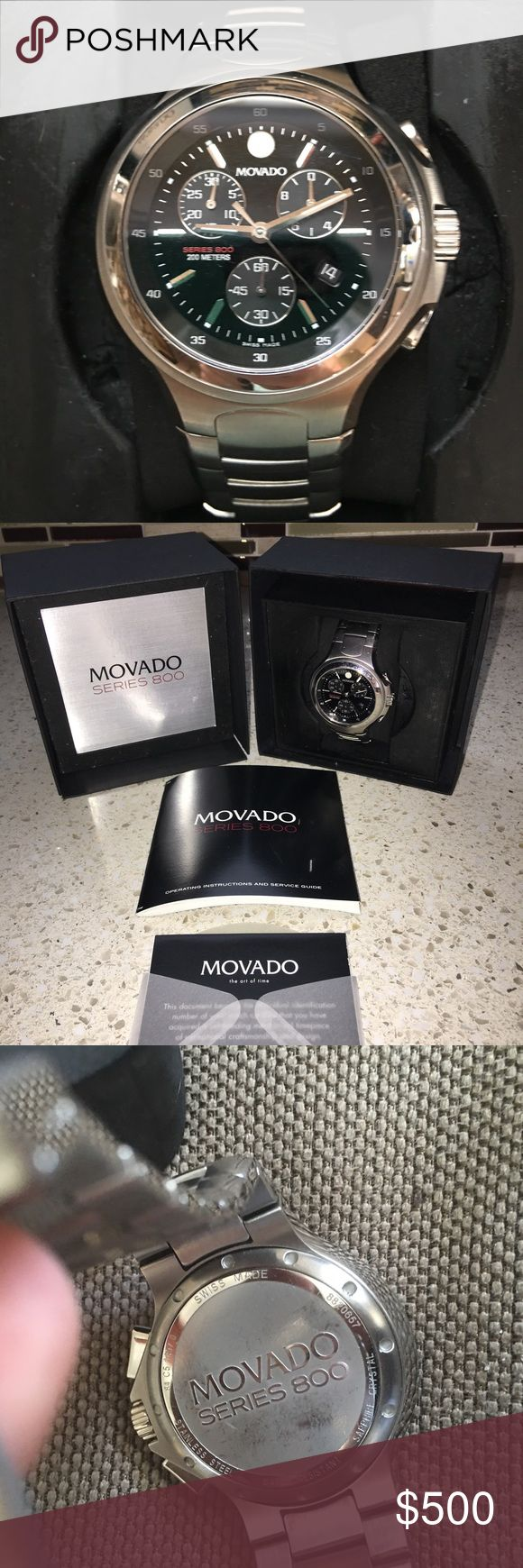 "Movado Series 800 Men's Chronograph Quartz Watch PREOWNED Gently loved Movado Series 800 stainless steel, Swiss chronograph for men has a large, round watch case that is made from performance steel--a higher grade of stainless steel that provides excellent durability & strength. 7"" adjustable bracelet. Other features include a sapphire glass crystal for optimal scratch resistance, screw down crown for maximum protection, and water resistance to 200 meters.   Plastic protective covering still…"