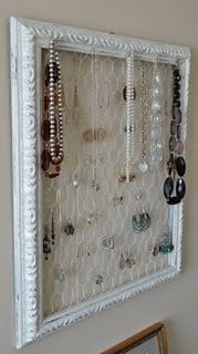 I need to fill a frame with chicken wire and put it on the inside of the armoir. My jewelry box is ridiculous.
