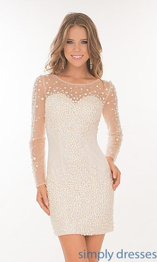 Short Beaded Atria Dress with Long Sleeves at SimplyDresses.com