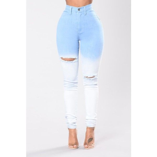 We Out Jeans Light Wash ($40) ❤ liked on Polyvore featuring jeans, light wash high waisted jeans, white distressed jeans, high-waisted jeans, light wash distressed jeans and white high-waisted jeans