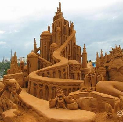 How cool! A Little Mermaid sand castle