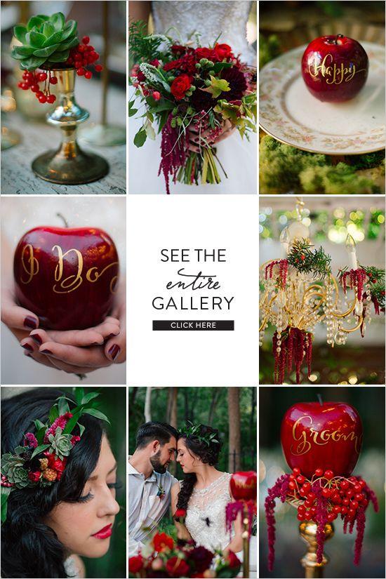 Snow White Wedding Ideas Disney http://www.perfectstatement.com/ design & Claire Marika Photogarphy snow white wedding @pseventdesign