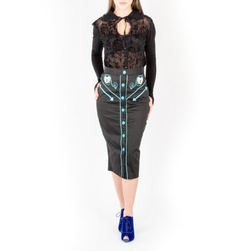 Today's Outfit of the Day mixes Gothic and Rockabilly trends by styling our Black Lace Blouse with Flared Sleeves (CBN325BLK) with our Locked Heart Pencil Skirt with Turquoise Embroidery (PS5289) and our Blue Heels (WINK01BLU). #corsetstory #corsetsuk #fashion #outfit #ootd #outfitoftheday #style #black #blue #turquoise #lace #heels #skirt #shoes