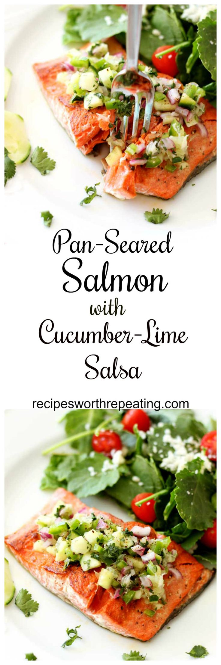 Fresh salmon is richly textured and highly flavorful! Adding this cucumber-lime salsa on top provides the perfect essence for your meal that everyone is guaranteed to love! Full of flavor, super healthy and gluten free! Fast and easy weeknight dinner! #sa