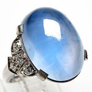 ANTIQUE BLUE STAR SAPPHIRE & DIAMOND RING SOLID PLATINUM