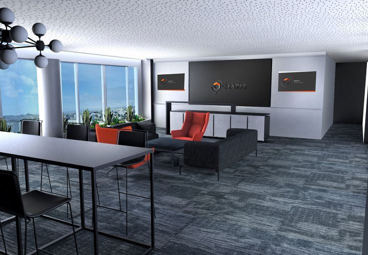 Pravda Stand Design Accueil siège social Matis. Design bureaux. Canapé gris Hay Bjorn, fauteuil Arper orange, tabouret bar Ondaretta, table basse zeus notto acier