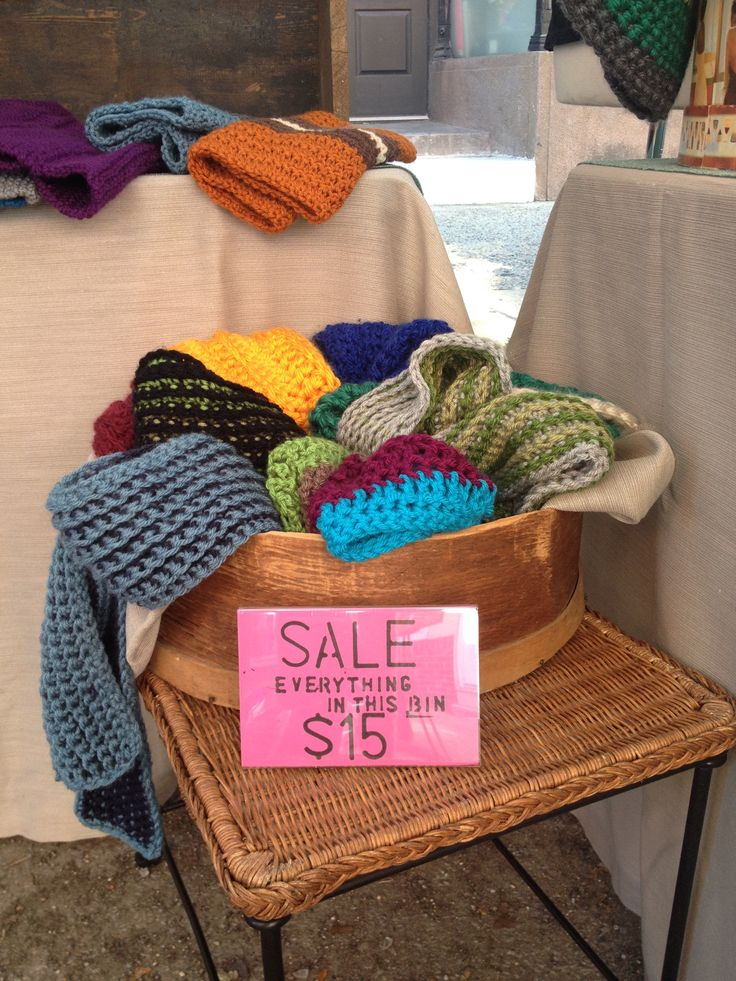 Created a sale bin of the previous year's scarves & cowls I didn't sell. Draws people into your booth, and gets rid of all those items you've had trouble selling.