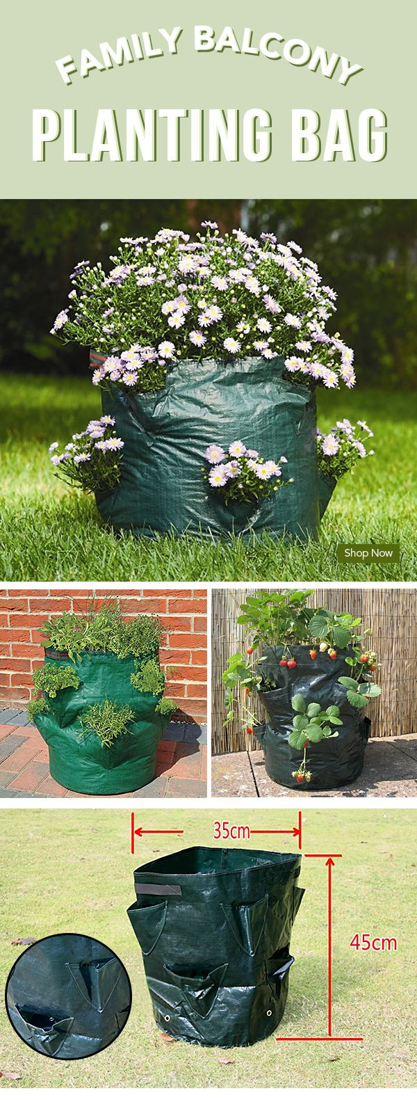 How to decorate your garden in Fall? $12.59 Family Balcony Strawberry Planting Bag Eight Bags of Herbs Vegetables Three-dimensional Planting Bag