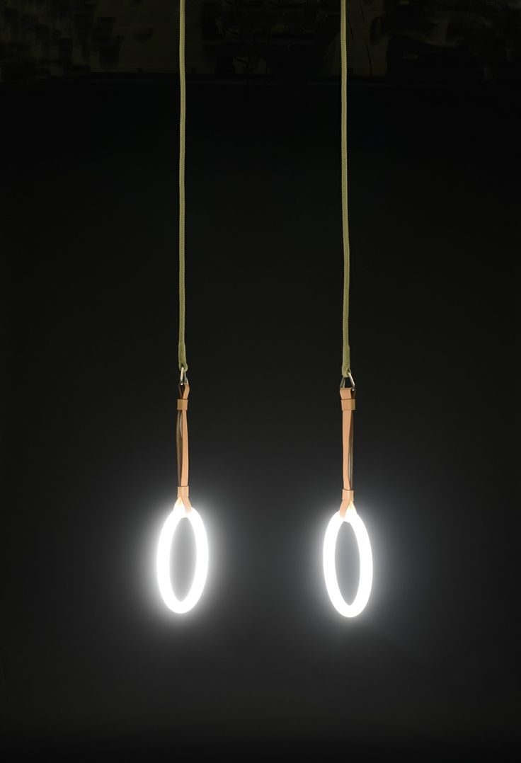 GYM LIGHTS by Sarah Illenberger. Pair of fluorescent lamps, rope, leather, steel. Voltage: 32 Watt, Cool White. Length: 200 cm. Dimmable.