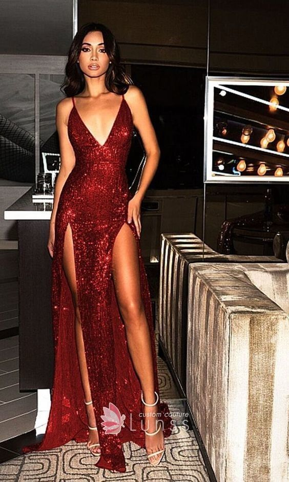 Dark Red Sequin Sexy Plunging V-neck Double-slit A-line Long Prom Dress 49ee8a7d8