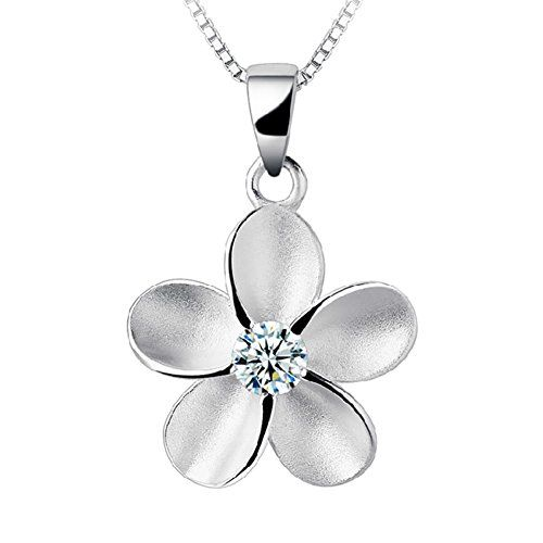 AOLA Jewelry Sterling Silver Women Hawaiian Plumeria Flower CZ Necklace Pendant with 18 Box Chain Hawaiian Plumeria Flower Cubic Zirconia Stud Earrings set ** More info could be found at the image url.