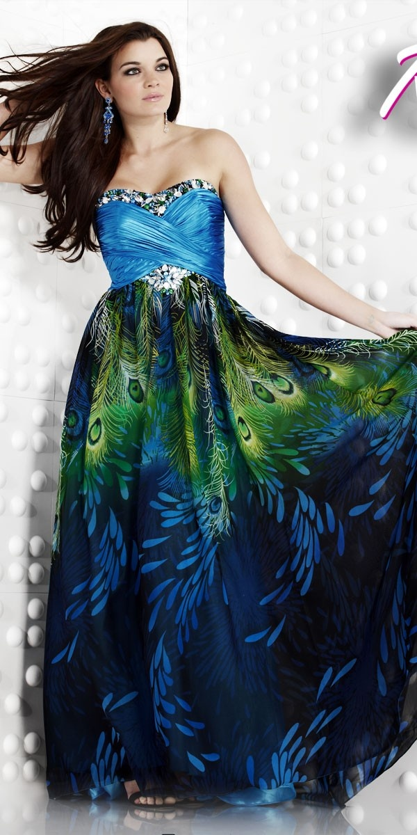 I don't care for the top of this dress, but just LOOK at that stunning peacock print skirt!