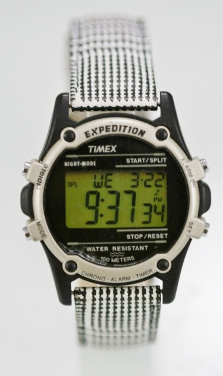 Timex Watch Men Light Alarm Date 24h 30m Black White Leather Plastic Gray Quartz