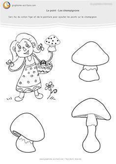 PDF Fiche Graphisme Petite Section Maternelle – Rajouter les points des champignons avec du coton-tige, un pinceau ou un feutre selon que la fiche est plastifiée ou non.