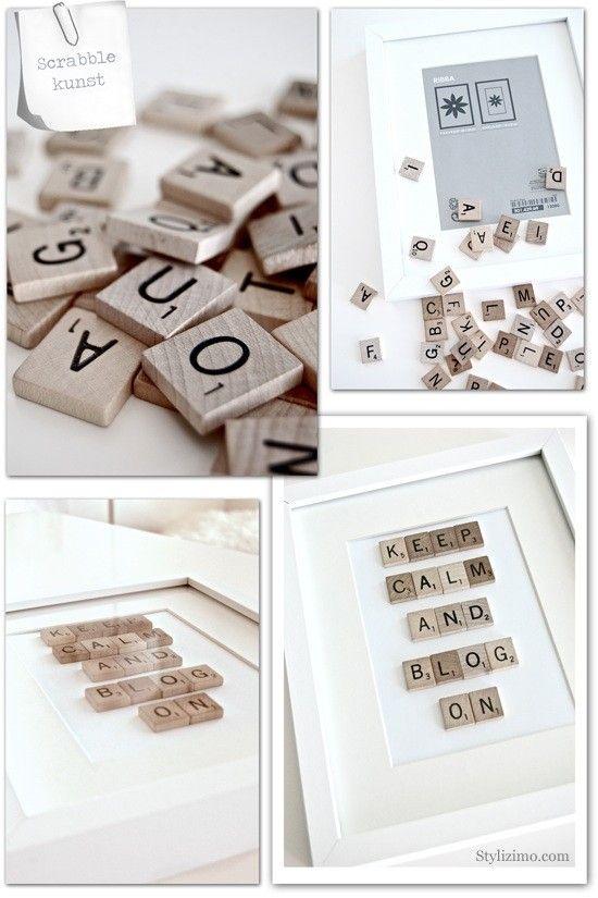 Scrabble kunst met mooie teksten in fotolijst