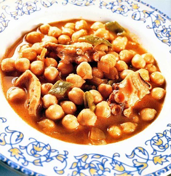 Potaje de garbanzos con pulpo #cuisine #recipes