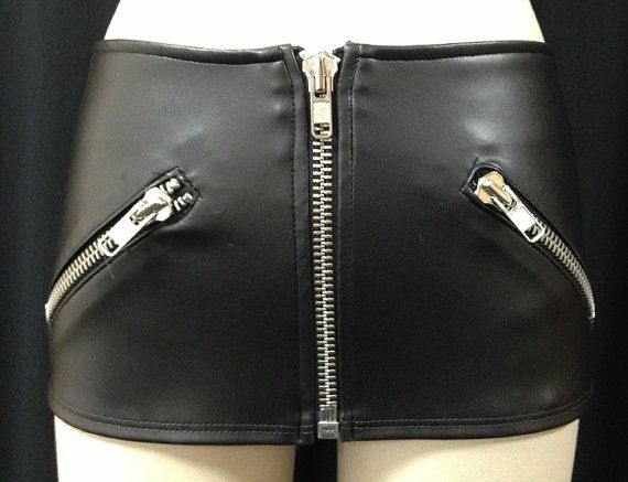 Black faux leather micro- mini skirt with 3 zipper detail ...