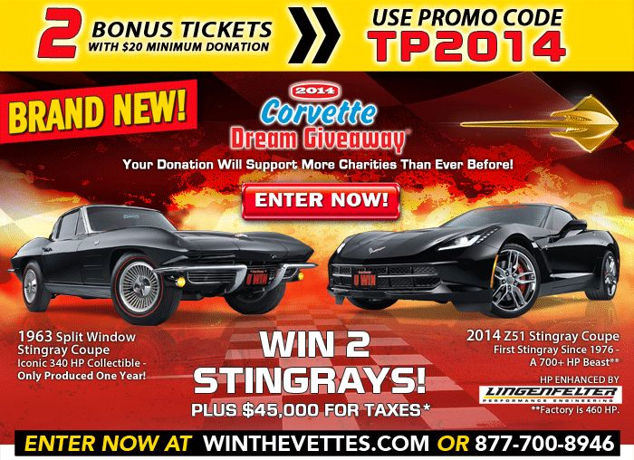 corvette dream giveaway promo code