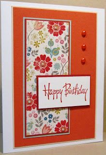 handmade birthday card ... clean and simple design with pretty patterned paper ...