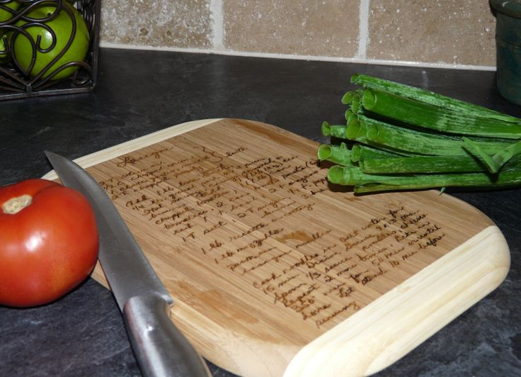 Bamboo cutting board laser-engraved with handwritten recipe created by Lazerworx.