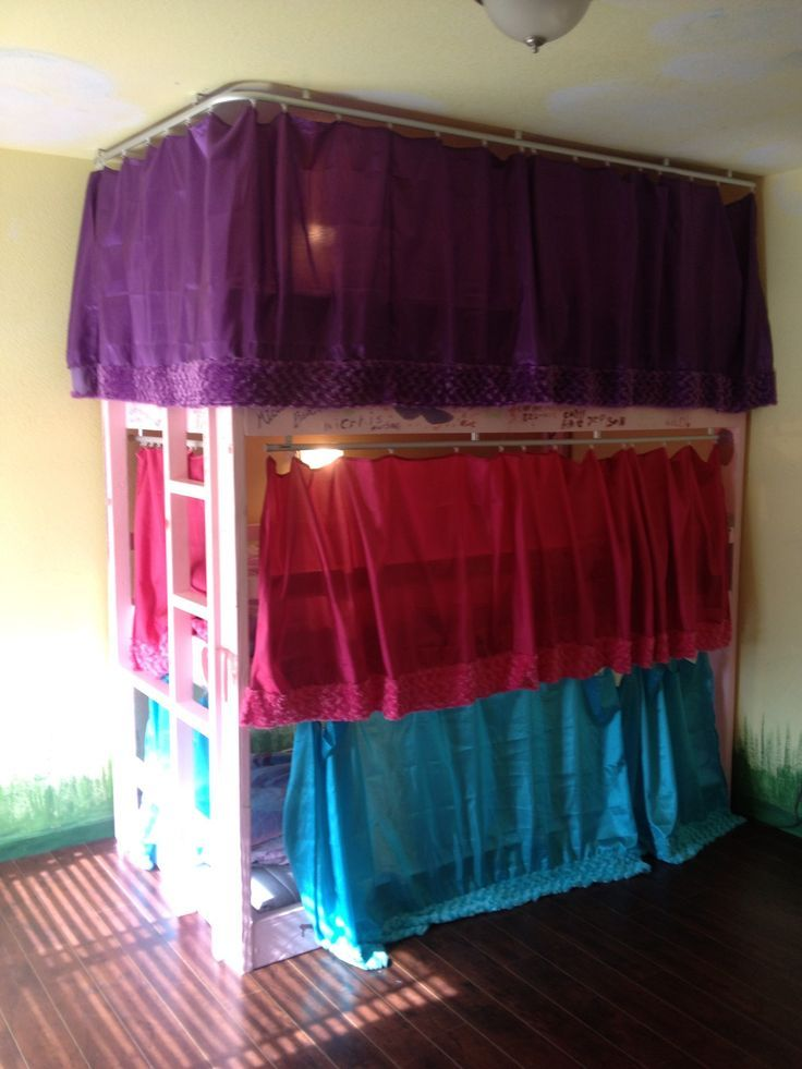 homemade triple bunk beds for a standard 9 ft ceiling also made curtains for each bed :-) 170.00 in materials from Home Depot: