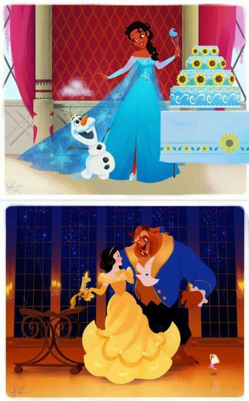 Disney Swap. Tiana as Elsa and Snow White as Belle