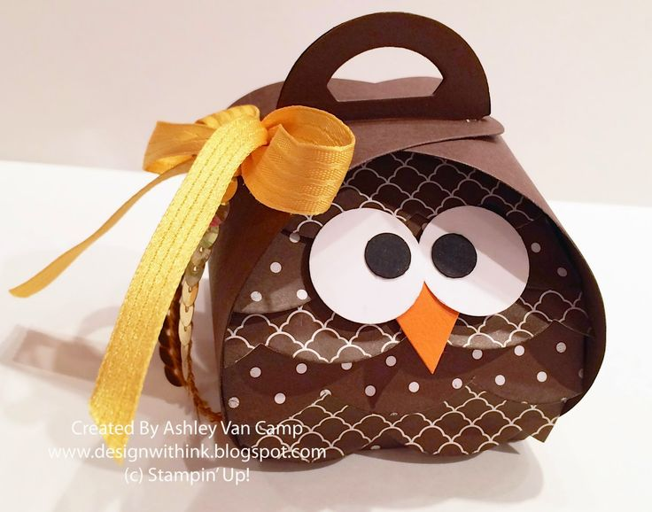 Ashley Van Camp, Design With Ink: October Club Project..., Stampin' Up! Curvy Keepsakes Thinlit Die, Owl Treat Holder