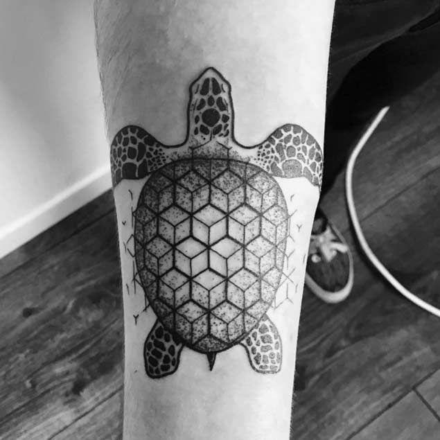 Geometric Dotwork Sea Turtle Tattoo