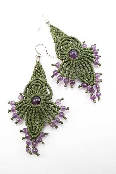 Ian Lander Jewelery : Macrame : Earrings : Amethyst