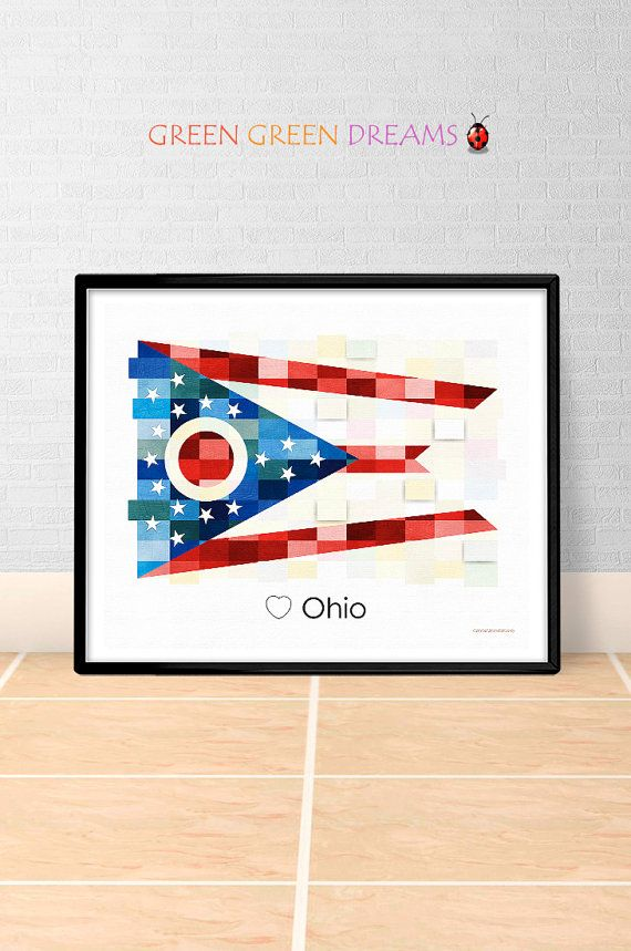 Ohio Flag Print Poster Wall art Ohio US State flags Ohio OH printable download Home Decor Digital Print gift GreenGreenDreams
