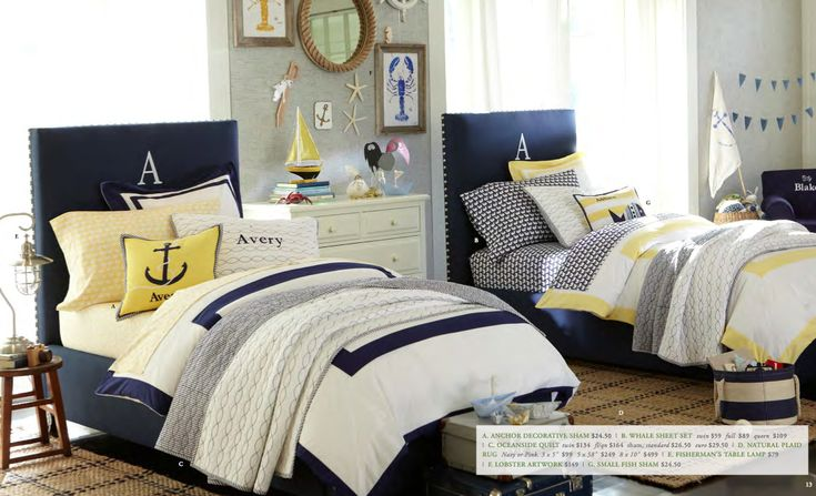 @Kristi Greco - every time i see a nautical room, I think of you ;)  Preview of Pottery Barn Kids summer line from Project Nursery.