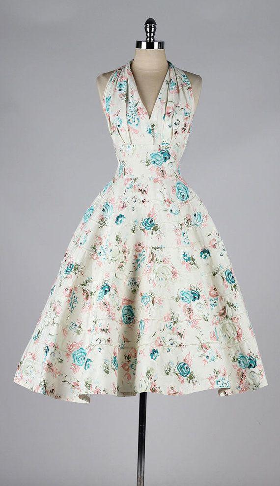 vintage 1950s halter dress . floral print by millstreetvintage