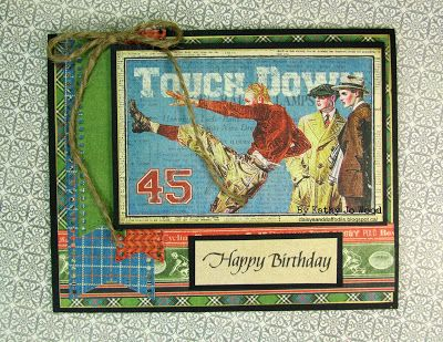 Masculine birthday card using Graphic 45's Good Ol' Sport papers, Quietfire Design stamp and Cheery Lynn dies.