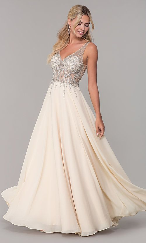 42f19127e7e3 Sleeveless Long Beaded-Illusion-Bodice Prom Dress in 2019 | Becoming ...