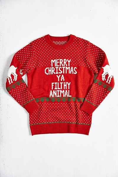 "Home Alone quote ""Merry Christmas Ya Filthy Animal"" Crew Neck Sweater - Urban Outfitters"