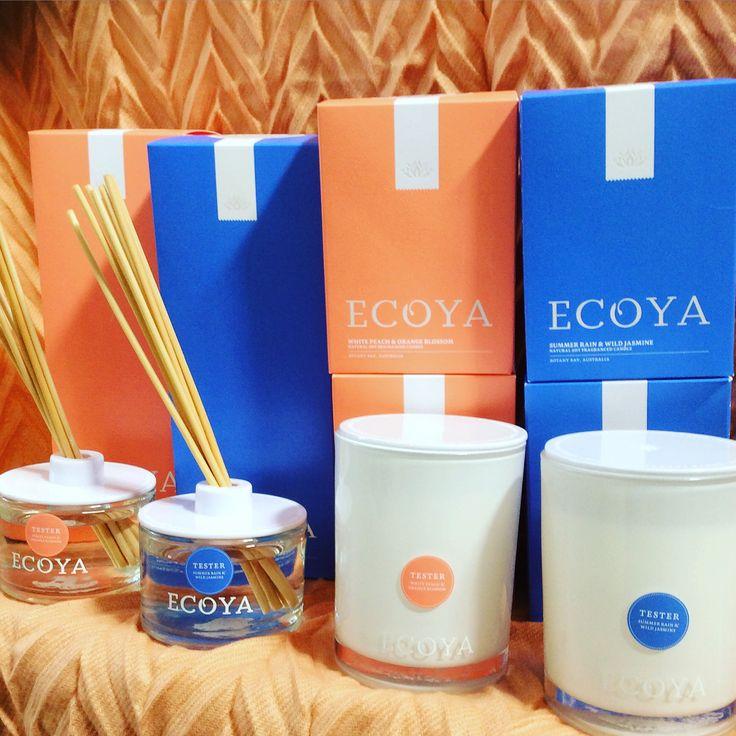 Summer limited edition Ecoya candles & diffusers in store. #summerrainsndwildjasmine #whitepeachandorangeblossom #ecoya #quinceyjac